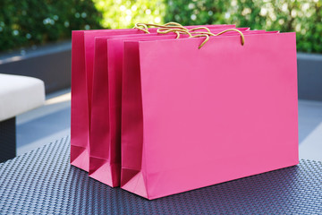 Shopping bags with a purchases inside