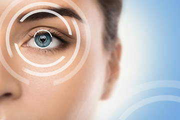 Concepts of laser eye surgery or visual acuity check-up Wall mural