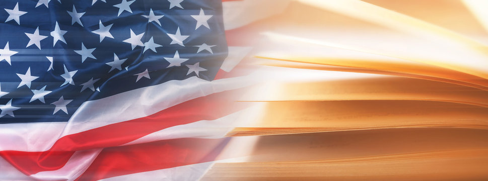 Flag of United States and opened book