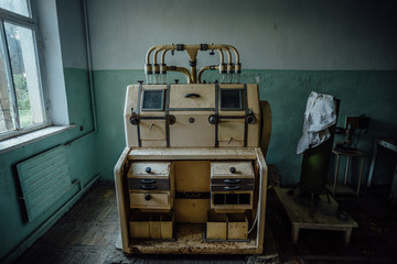 Abandoned analytic laboratory in old empty flour mill factory