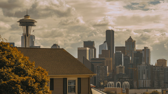 Seattle Downtown Tower Skyline View