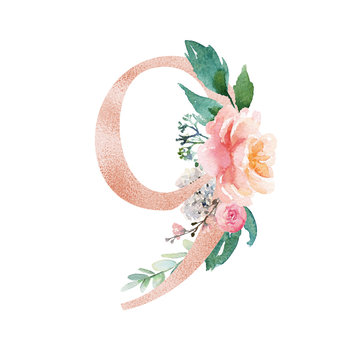 Peach Cream Blush Floral Number - digit 9 with flowers bouquet composition. Unique collection for wedding invites decoration & other concept ideas.