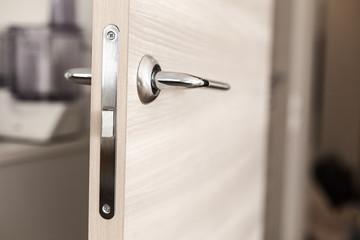Closeup on door handle. Nobody