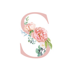 Floral Alphabet - blush / peach color letter S with flowers bouquet composition. Unique collection for wedding invites decoration and many other concept ideas.