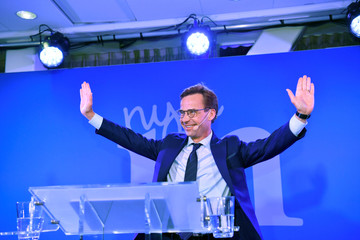 Ulf Kristersson, leader of Sweden's Moderate Party, speaks at an election party at the Scandic Continental hotel in central Stockholm