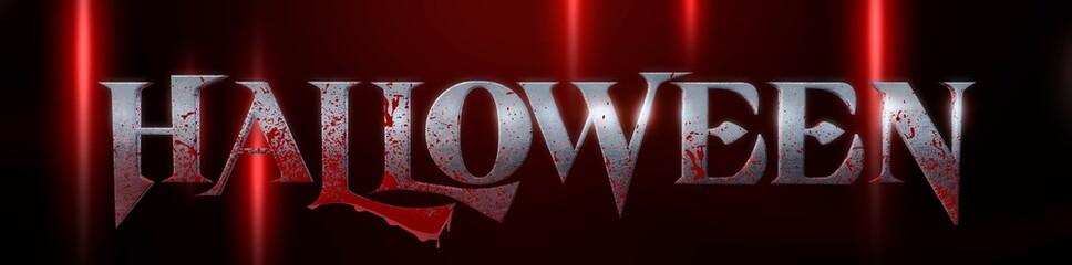 3d illustration font metal written halloween text with splash blood.