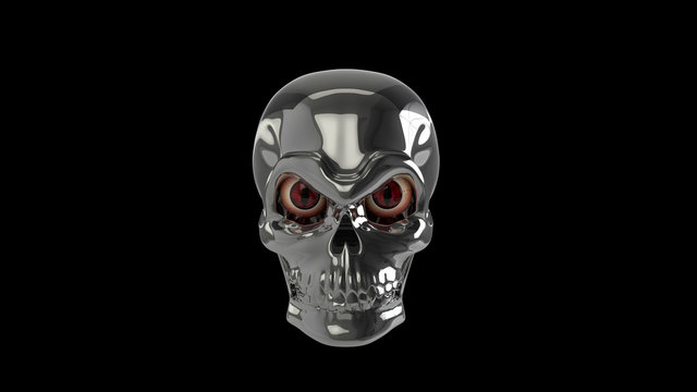3d render robot skull metal with vampire's eyes halloween.