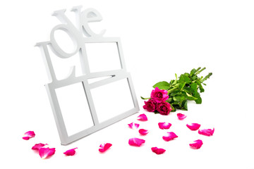 love frame, rose, concept valentine day on white background