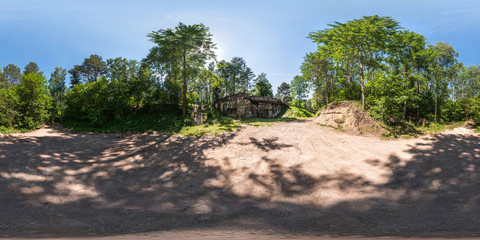 full seamless panorama 360 by 180 angle view ruined abandoned military fortress of the First World War in forest in equirectangular spherical projection, skybox VR content