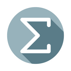 Sigma greek letter icon in Flat long shadow style. One of web collection icon can be used for UI, UX