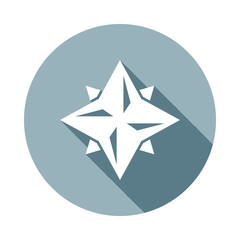 Eight point star icon in Flat long shadow style. One of web collection icon can be used for UI, UX