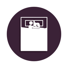 husband and wife in bed icon in badge style. One of marriage collection icon can be used for UI, UX