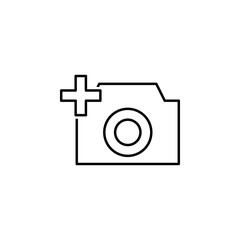 Camera plus sign icon. Element of image sign for mobile concept and web apps illustration. Thin line icon for website design and development, app development. Premium icon