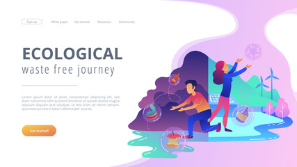 People trying reach zero waste. Technology of ecological waste free journey focusing on landfill trash. Ecological, waste free journey landing page, violet palette. Vector illustration on background