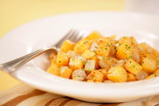 Vegan & Vegetarian Food - Rutabaga & Onion Hash