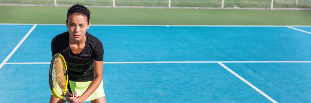 Tennis playing woman. Tennis class outdoor lesson. Sport player blue hard court banner panorama.