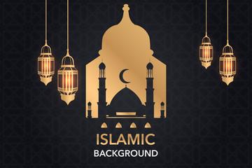 Islamic vector design greeting card background islamic design banner. vector illustration