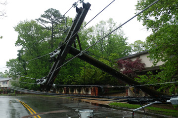 transformer on a pole and a tree laying across power lines over a road after Hurricane moved across