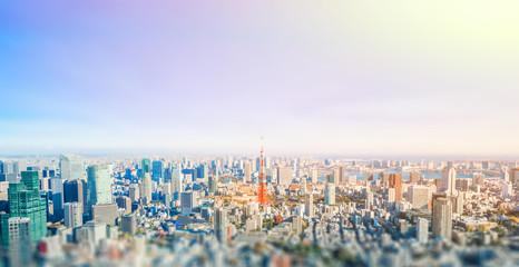 panoramic modern city skyline aerial view under blue sky in Tokyo, Japan Fototapete