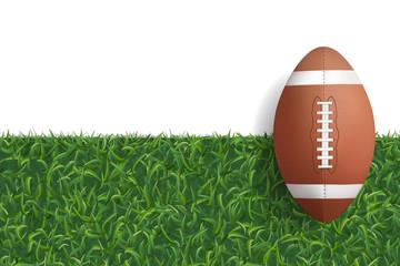 American football ball on green grass texture background. Vector.