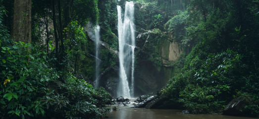 Fotobehang Watervallen Waterfall Waterfall in nature travel mok fah waterfall