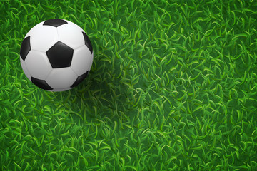 Soccer football on green grass field texture background. Vector.