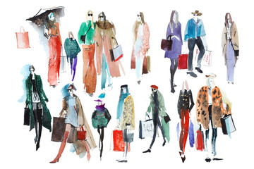 Hand drawn watercolor people with shopping bags. Fashion, sale. Wall mural