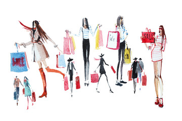 People with shopping bags. Sale. Watercolor illustration.