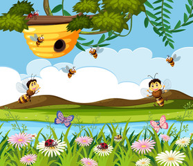 Bee and beehive in nature