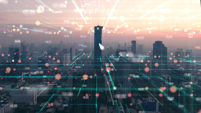 the double exposure image of digital line and city Aerial view,Business and technology Background