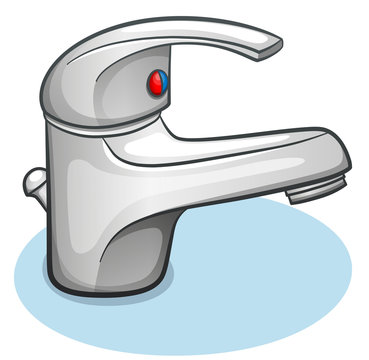 Vector faucet on white background