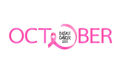 October lettering design with pink ribbon. Breast Cancer Awareness Month Campaign. For poster, banner and t-shirt. Vector Illustration isolated on white background.