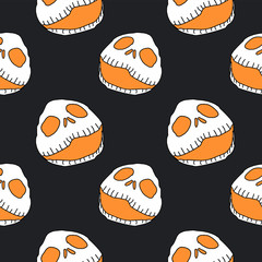 Halloween seamless pattern with spooky skull head very creepy design vector illustration black and white colors.