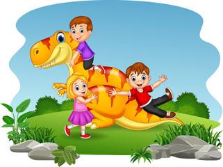 Cartoon little kid playing on the dinosaur