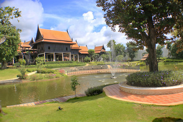Thai style house with garden.