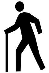 杖をついて歩く人のイラスト 左向き 黒