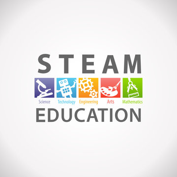 STEAM STEM Education Concept Logo. Science Technology Engineering Arts Mathematics.