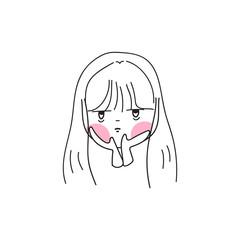 hand drawing cartoon character girl expression