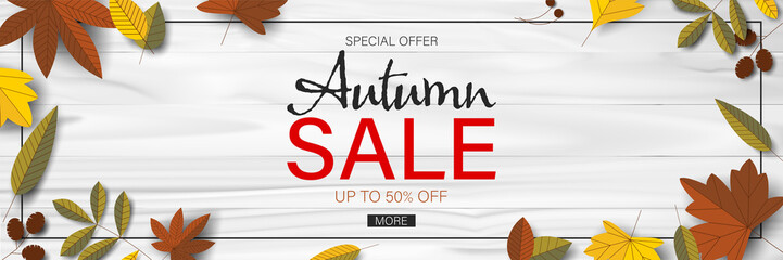 Autumn sale background with leaf for web banner and shopping promotion template. Wall mural