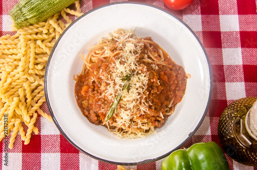Spaghetti Alla Bolognese In An Italian Restaurant Stock Photo And