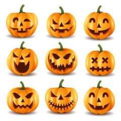 Set of halloween pumpkins, funny faces.vector illustration