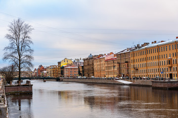 Embankment of Fontanka River and Krasnoarmeysky bridge in Saint Petersburg, Russia