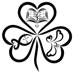 Evangelical clover with three leaves, the Bible, a fish with a cross and a bird