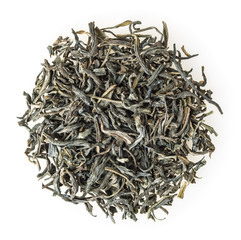 Heap of green tea isolated on white background
