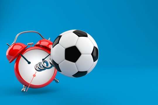 Soccer ball with alarm clock