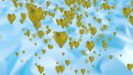 Yellow Crystal Hearts Background