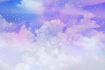 満天の星空と雲