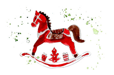 Christmas toys. Wooden red horse. Watercolor hand drawing illustration