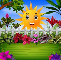the beautiful garden under the happy sun