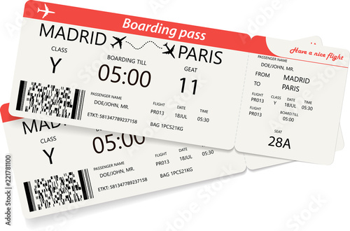 Set Of Two Red Boarding Pass Tickets Over White Background Vector